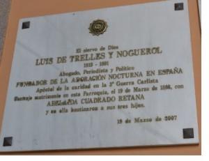 Placa conmemorativa en la Iglesia de San Sebastian, en Madrid